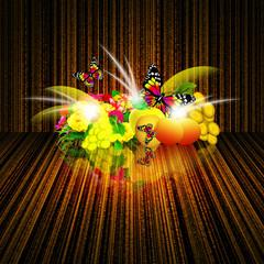 Fruit, flowers and butterflies