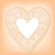 Vintage Lace Doily Heart, Pastel Peach Background