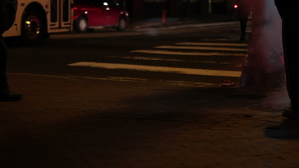 Downtown street corner in Philadelphia, USA, at night