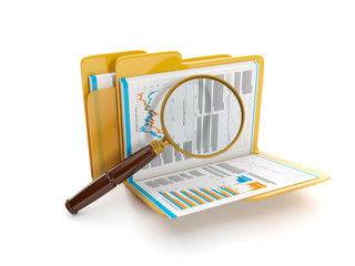 3d illustration: Finding a document file. Folder and a magnifyin