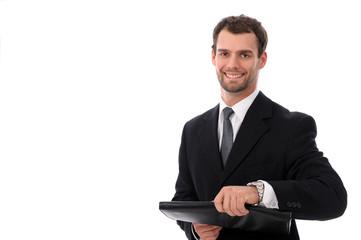 Junger Geschäftsmann mit Dokumententasche