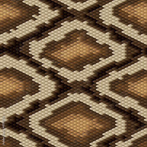 Seamless python snake skin pattern. Vector illustration.