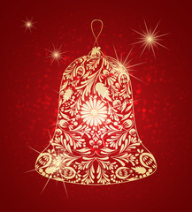 Golden New Year's bell . Festive abstract background.