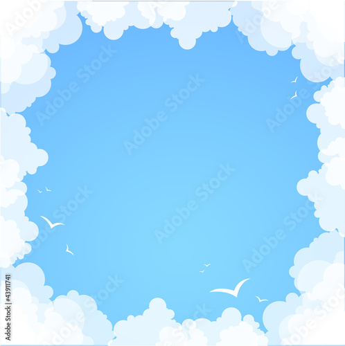 In de dag Hemel Frame made of clouds. Abstract Background. Summer theme