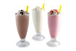 Leinwandbild Motiv iced blended chocolate, banana and strawberry