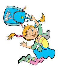 jumping happy schoolgirl