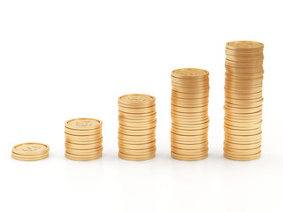 Business Graph made from Golden Coins on white background