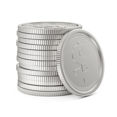 Stack of Silver Coins Isolated on white background