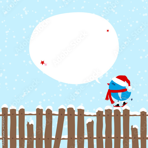 Blue Bird Skiing On Fence Christmas Speech Bubble