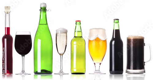 alcohol drinks set isolated