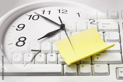 Clock and Computer Keyboard