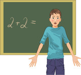 Perplexed boy at blackboard in classroom