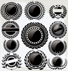 Set of empty vintage retro black and white labels