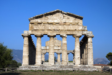View of ancient Athena Temple in Paestum.