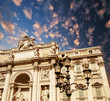 Architectural detail view of The Famous Trevi Fountain in Rome,