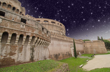 Night view of the fortress of Castel Santangelo in Rome
