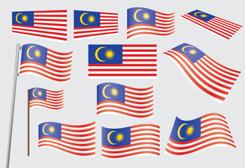 set of flags of Malaysia vector illustration
