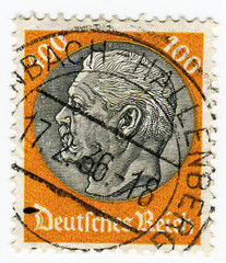 GERMANY - CIRCA 1933: A 100pf stamp printed in Germany of Pres