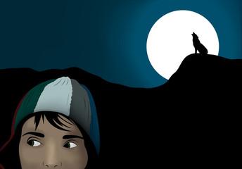 frightened girl in dark night