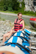 water rafting, woman and raft boat