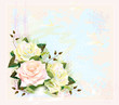Vintage background  with roses. Imitation of watercolor painting