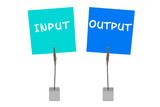 Bunte Merkzettel und Notizhalter: Input, Output poster