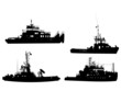 Set of silhouettes of towboat