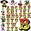 circus clowns character abc alphabet collection