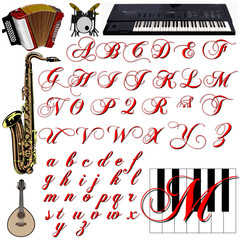 Musical instruments abc alphabet sign collection