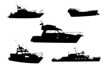 Silhouettes of yachts, a boat and a steamship