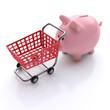 Sparschwein mit einem Einkaufswagen