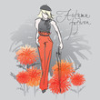 Autumn tangerine fashion / Realistic vector sketch