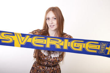 Young beautiful female sweden fan