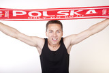 Young beautiful male poland fan