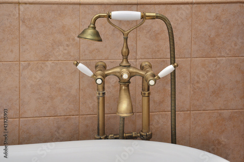 Closeup of bathtub faucet