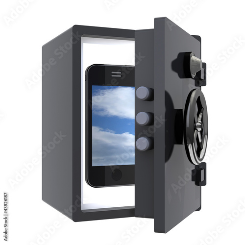 smartphone protected in a safe