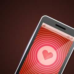 Mobile phone and heart icon vector backgroud