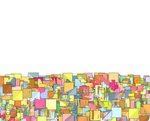 abstract composition with candy color square plane