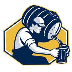 Bartender Pouring Keg Barrel Beer Retro