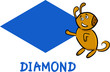 diamond shape with cartoon dog