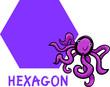 hexagon shape with cartoon octopus