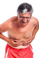 Senior man stomach ache