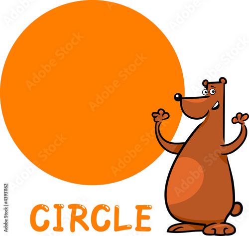circle shape with cartoon bear