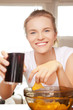 smiling teenage girl with chips and coke