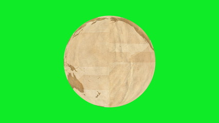 Animation of made of brown paper, rotating on green screen.