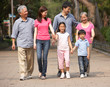 Portrait Of Multi-Generation Chinese Family Walking In Park