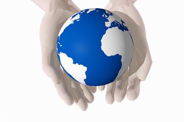 Manos ofreciendo el planeta tierra