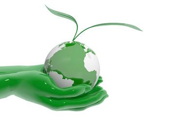 Manos entregando planeta ecológico