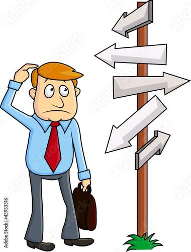 A business man faces a confusing decision