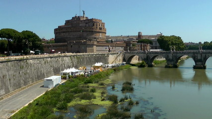 Castle Saint Angel. Tiber river, Rome. Italy. Time lapse video.